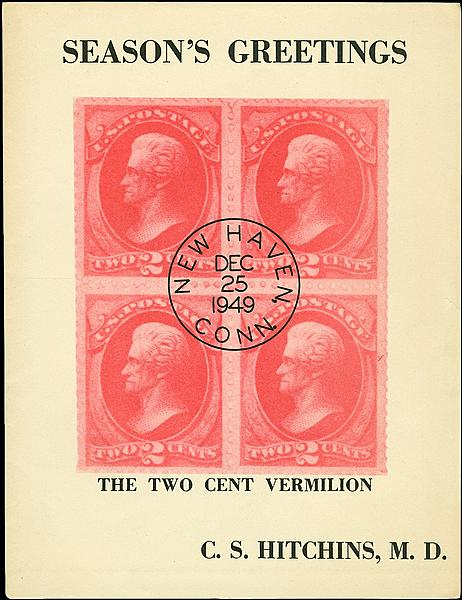 Us stamp notes christmas cards with philatelic content seventy four years after the 2 vermilion andrew jackson stamp was issued this card was sent as a christmas greeting the interior contains a paragraph on m4hsunfo