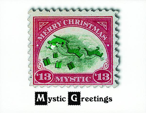 Us stamp notes christmas cards with philatelic content s 2013 christmas greeting card adapted the 1918 24 jenny airmail stamp to the holiday season shown here is the back of the card which mimics the inverted m4hsunfo