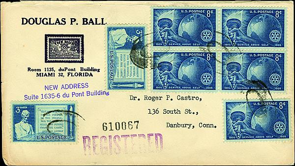 u.s. 8¢ rotary international stamp infrequent on overseas mail
