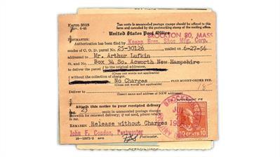 uspod-1956-form-3818-change-cod-terms-john-tyler-presidential-series-stamp