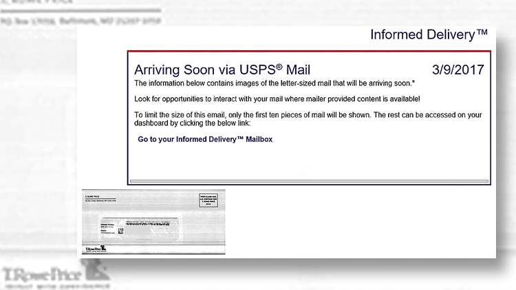 Informed Delivery see USPS mail in advance