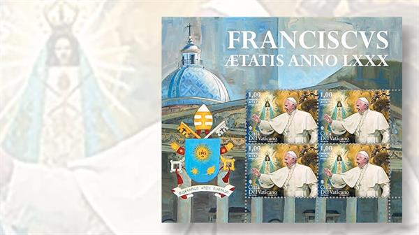 vatican-city-pope-francis-80th-birthday-stamp