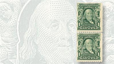 vertical-pair-1908-one-cent-franklin-experimental-coil-stamps