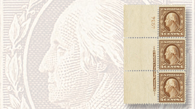 vertical-strip-three-washington-franklin-bluish-paper-stamps