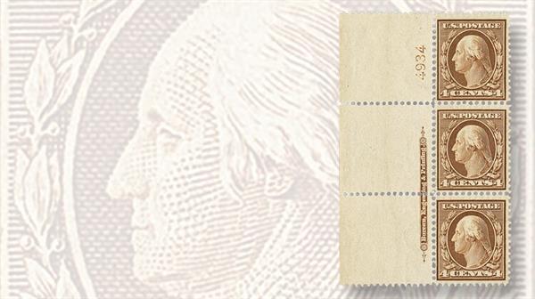 vertical-strip-three-washington-franklin-bluish-paper-stamps