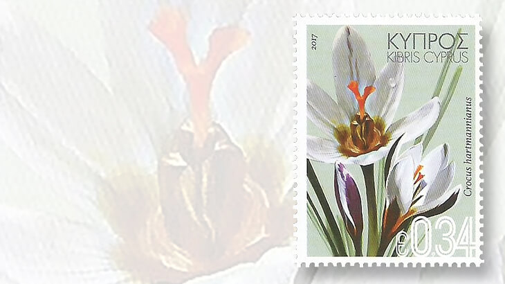 Spring and summer flowers bloom on stamps linns one of the four stamps in the wild flowers of cyprus set issued feb 16 pictures crocus hartmannianus which blooms as early as january mightylinksfo