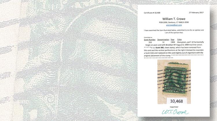 william-crowe-philatelic-foundation-certificate-1908-postcard-franklin-coil-fake
