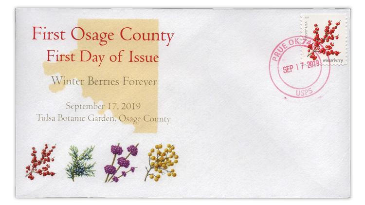 winter-berries-prue-oklahoma-first-day-cover