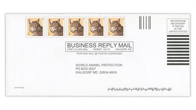 world-animal-protection-business-reply-mail-envelope-invalid-bobcat-coil-stamp-imprints