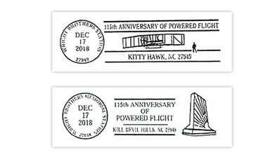 Wright Brothers pictorial postmarks in North Carolina