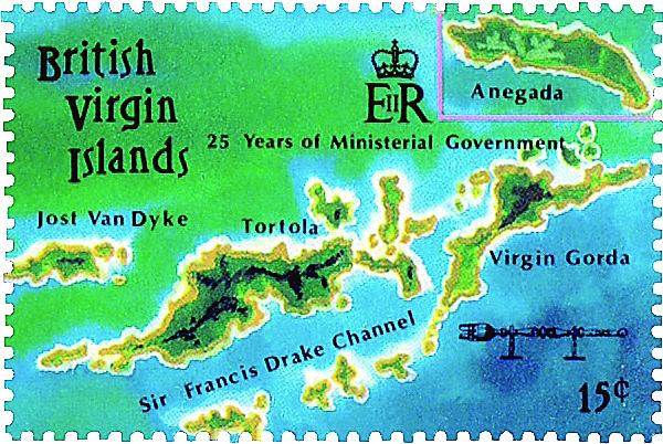 Mistakes found on map stamps of the British Virgin Islands
