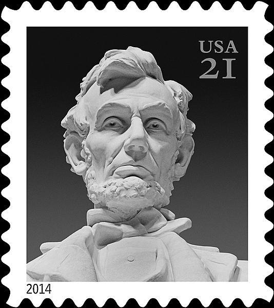 New 21 162 Lincoln Stamp Issued On Birthday Close Up Photo Of Statue Used For Design