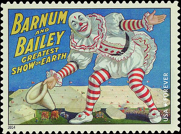 An Alternate Version Of This Barnum And Bailey Clown Poster Stamp From The 2014 Vintage Circus Posters Set Will Be Sold In A Souvenir Sheetlet Available