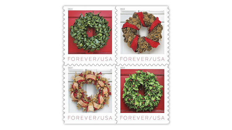 Christmas Stamps 2019.Usps Reveals Wreath Set For 2019 Holiday Stamp Issue