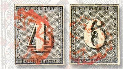 zurich-four-rappen-six-rappen-cantonal-stamps